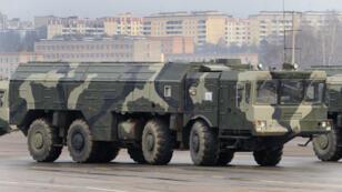 Un lance-missile russe lors d'un défilé près de Moscou en 2010