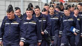Des marins russes à Saint-Nazaire en août 2014
