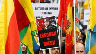 مظاهرات منددة بالهجوم التركي في سوريا، باريس 12 أكتوبر/تشرين الأول 2019.