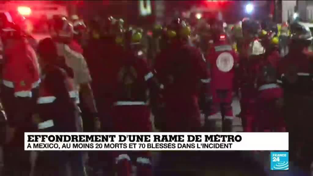 2021-05-04 10:01 À Mexico, au moins 20 morts et 70 blessés après l'effondrement d'une rame de métro