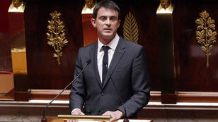 French Prime Minister Manuel Valls delivers a speech at the National Assembly in Paris on April 13, 2015, as French lawmakers debated a new law on intelligence gathering