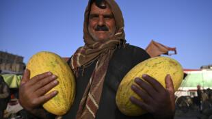 بائع أفغاني يحمل شماما بانتظار زبائن قبل عيد الأضحى في سوق للفواكهة في كابول في 28 تموز/يوليو 2020