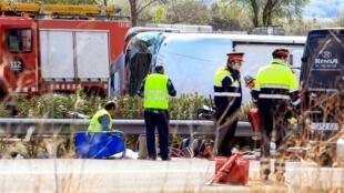 Les secours espagnols sur les lieux de l'accident, le 20 mars 2016.