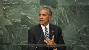 Le président Barack Obama à la tribune de l'Assemblée générale des Nations Unies, le 20 septembre 2016 à New York.
