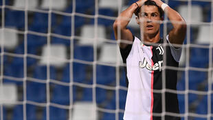 Ronaldo reacts after missing an opportunity against Sassuolo