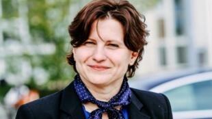 La ministre française des Sports Roxana Maracineanu lors de l'inauguration d'une piscine olympique à son nom, le 12 avril 2019 à Mulhouse