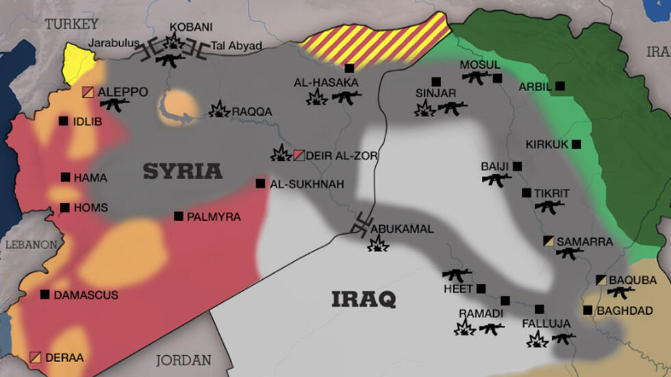 Map: Areas under IS group control in Iraq and Syria