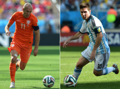 Wednesday's clash has been billed as a battle between Holland's Arjen Robben (left) and Lionel Messi of Argentina.