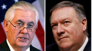 Una foto combinada muestra al Secretario de Estado de EE. UU. Rex Tillerson (I) en Addis Ababa, Etiopía, 8 de marzo de 2018, y al Director de la Agencia Central de Inteligencia (CIA) Mike Pompeo en Capitol Hill en Washington, DC, EE.UU., 13 de febrero de 2018, respectivamente.