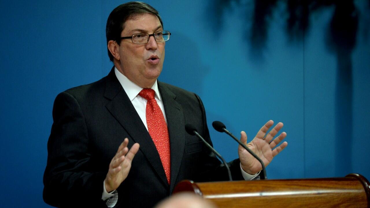 El canciller cubano, Bruno Rodríguez, durante una conferencia de prensa en La Habana, Cuba. 20 de septiembre de 2019.