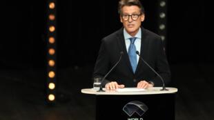 Le patron de l'athlétisme mondial Sebastian Coe s'exprimant lors de la soirée de gala de Monaco, le 23 novembre 2019