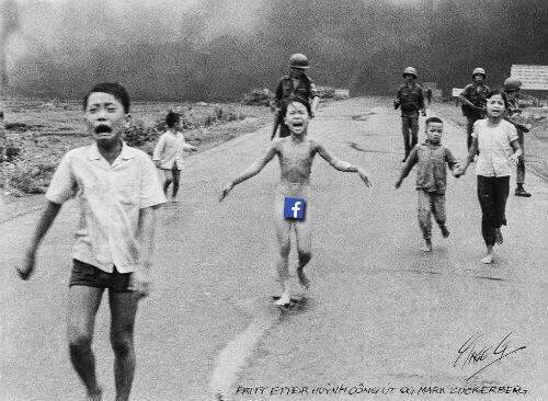 Montage effectuée par un caricaturiste de l'Aftenposten pour dénoncer la censure effectuée par Facebook.