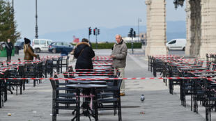 A cordoned-off bar terrace in Trieste on January 19