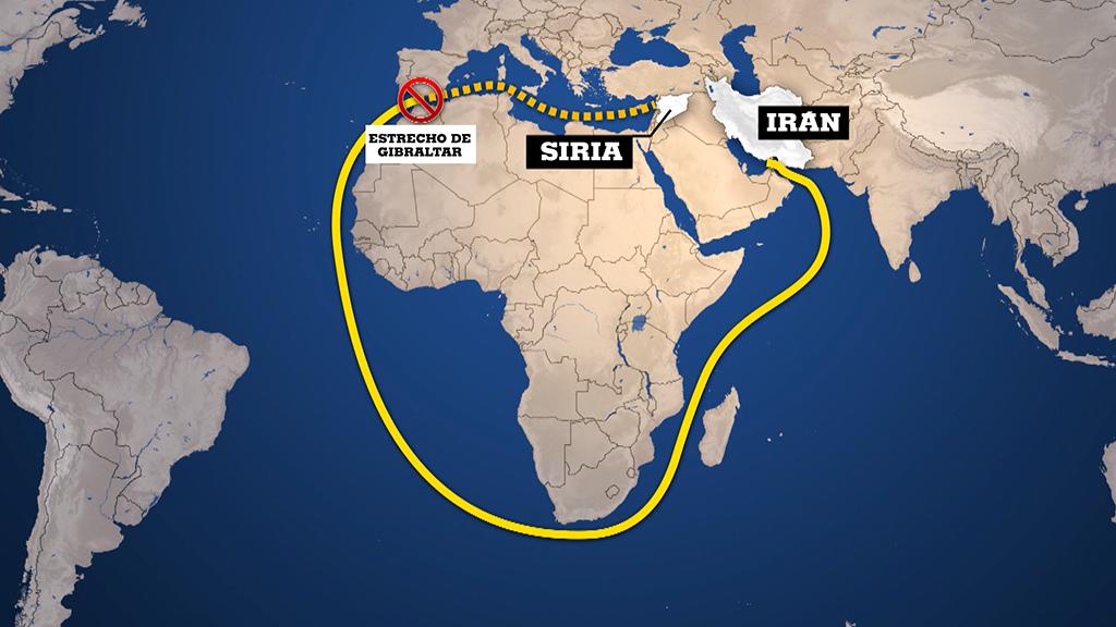 El petrolero iraní Grace I tomó una larga ruta rodeando África para poder llegar hasta Siria según las autoridades de Gibraltar