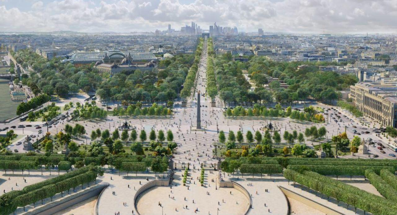An overview of PCA-STREAM's plan for Place de la Concorde, at the bottom end of the Champs-Elysées.