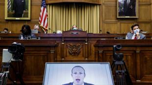 Mark Zuckerberg défend l'acquisition d'Instagram et les pratiques de Facebook en matière de concurrence devant la Commission judiciaire au Congrès américain le 29 juillet 2020