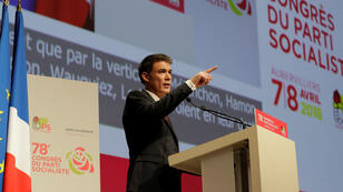 Le nouveau Premier secrétaire du PS, Olivier Faure, lors du congrès du parti à Aubervilliers, le 8 avril 2018.