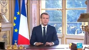 الرئيس الفرنسي إيمانويل ماكرون يلقي كلمة بعد إعلان نتائج استفتاء كاليدونيا الجديدة 4 تشرين  الثاني/نوفمبر 2018