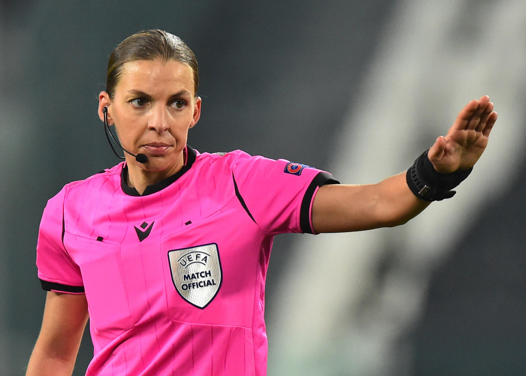 Football referee Stéphanie Frappart at a Champions League match Dec. 2, 2020.
