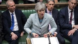 La Première ministre Theresa May à la Chambre des communes, à Londres, le 25mars2019.