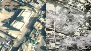 Avant/ après : la mosquée al-Nuri à Mossoul en Irak.