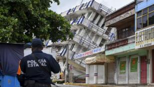 Un hotel effondré à Matias Romero, dans l'État d'Oaxaca, dans le sud du Mexique, le 8 septembre 2017.