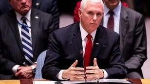 US Vice President Mike Pence speaks during a Security Council meeting about the situation in Venezuela at the United Nations in New York on April 10, 2019 in New York City