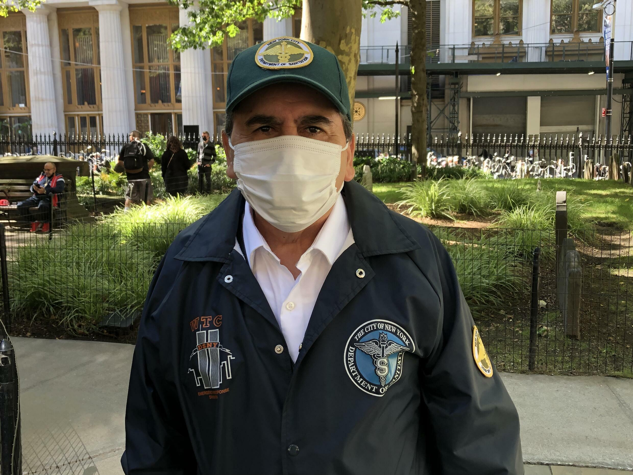 Angel Rodriguez, a retired sanitation worker from the Bronx, spent 52 days at Ground Zero, working to sift through the smoldering remains and recover the bodies of victims.