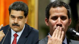 El pesidente de Venezuela, Nicolás Maduro y el presidente de la Asamblea Nacional, Juan Guaidó.