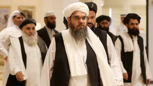 Des membres de la délégation des Taliban venue assister aux pourparlers du dialogue intra-afghan à Doha, au Qatar, le 7 juillet 2019.