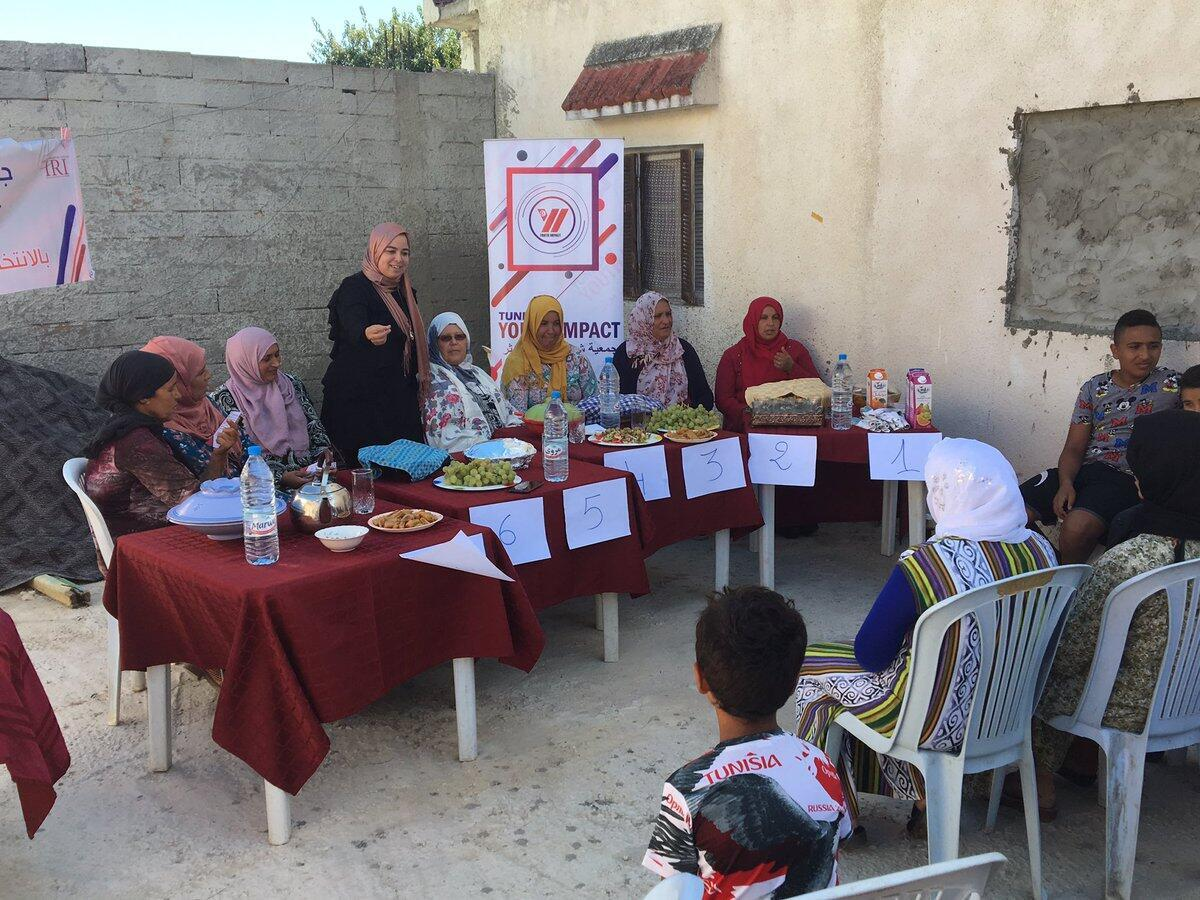 Competitors take part in a cooking contest in Echamine, Tunisia.