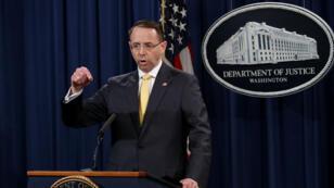 Le procureur général adjoint des États-Unis Rod Rosenstein au département de la justice à Washington, le 16 février 2018.