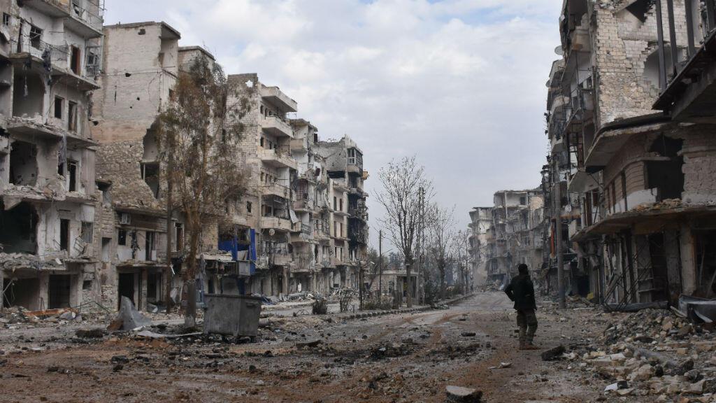 Les rues d'Alep, le 23 décembre. après la reprise totale de la ville par le régime du président Bachar al-Assad.