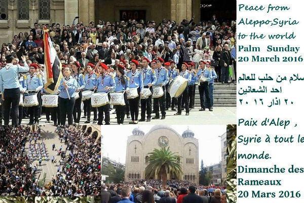 Montage de photos du dimanche 20 mars à Alep. On peut notamment y voir la procession des scouts percussionnistes.