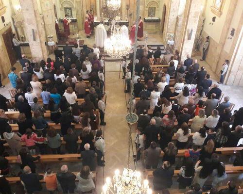 Une église d'Alep, lors du dimanche des Rameaux, le 20 mars 2016.