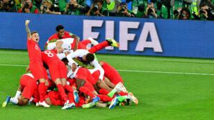 L'explosion de joie des Anglais, qualifiés pour les quarts de finale de la Coupe du monde, mardi 3 juillet 2018.