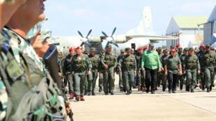 El presidente Nicolás Maduro encabezó los ejercicios militares en una base militar de Aragua, el 29 de enero de 2019.