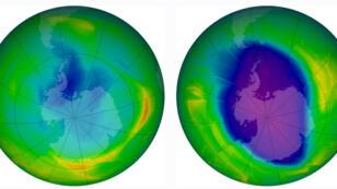L'état du trou dans la couche d'ozone en 1979 (gauche) et en 2009 (droite)