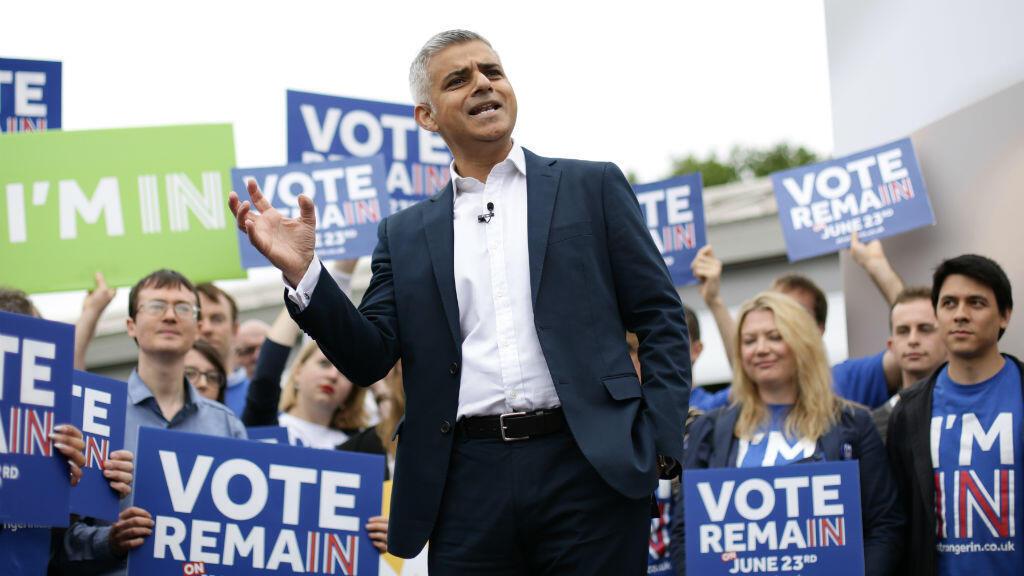 Le maire de Londres Sadiq Khan, ici le 30 mai 2016, a fait campagne contre le Brexit.