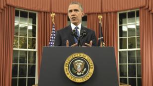 Le président américain Barack Obama lors de son allocution solennelle prononcée dans le Bureau ovale, le 6 décembre 2015.
