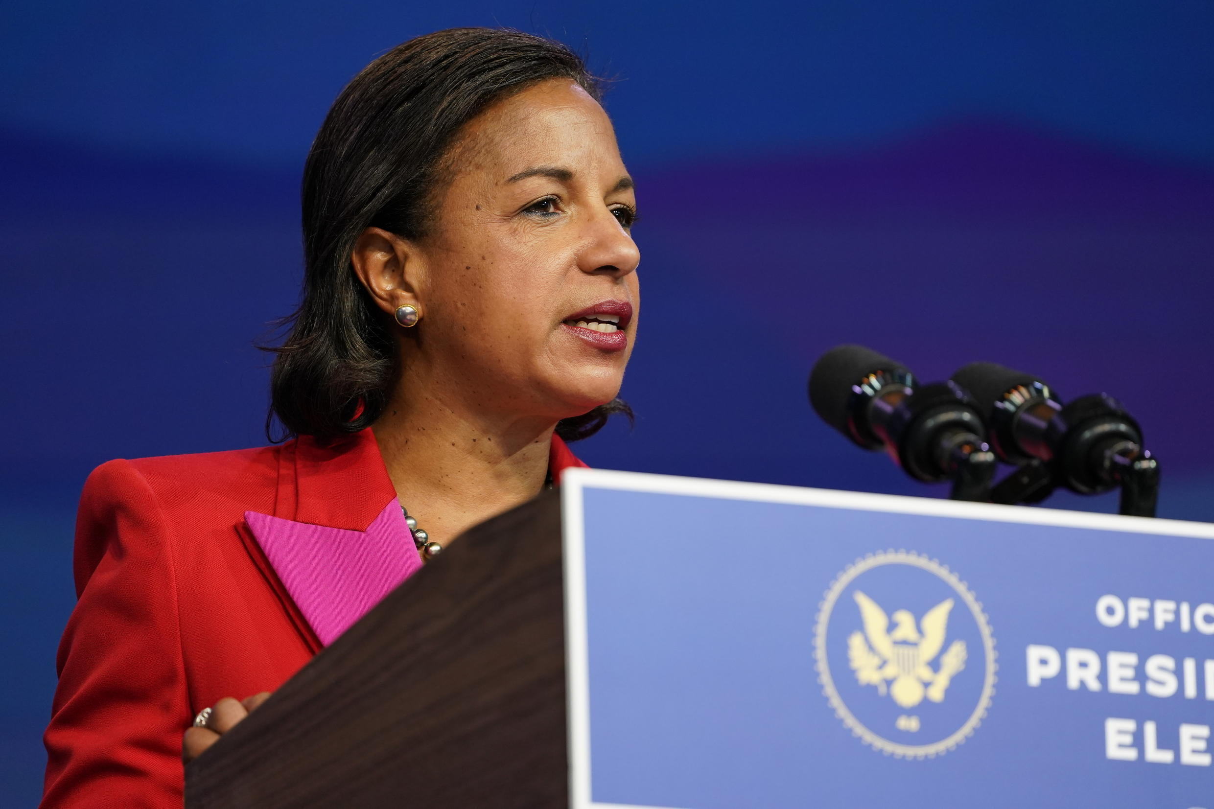 Susan Rice, the Biden administration's choice to lead the White House Domestic Policy Council, speaks during an event at The Queen theater in Wilmington, Del., Friday, Dec. 11, 2020.