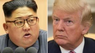 صورة مركبة للرئيس الأمريكي دونالد ترامب والزعيم الكوري الشمالي كيم جونغ أون