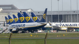 Ryanair planes on the tarmac in Dublin on March 23, 2020.