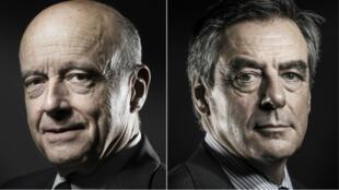 Alain Juppé (g) et François Fillon achèvent leur campagne vendredi 25 novembre en tenant l'un et l'autre un meeting à Nancy et Paris.