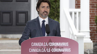 رئيس الوزراء الكندي جاستن ترودو في أوتاوا في 25 حزيران/يونيو 2020