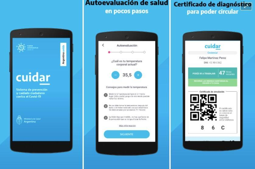 Captura de las muestras de la interfaz de CuidAR ofrecida por las tiendas de descarga de aplicaciones móviles.