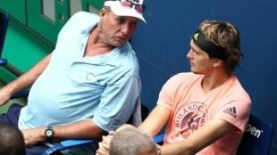 L'Allemand Alexander Zverev avec son coach Ivan Lendl le 26 août 2018 à New York