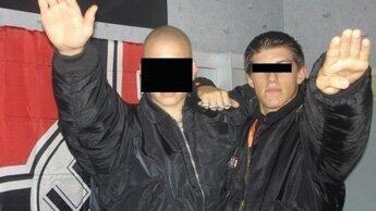 The photo where Gabriac, right, is seen making a Nazi salute, published by Le Nouvel Observateur in 2011.