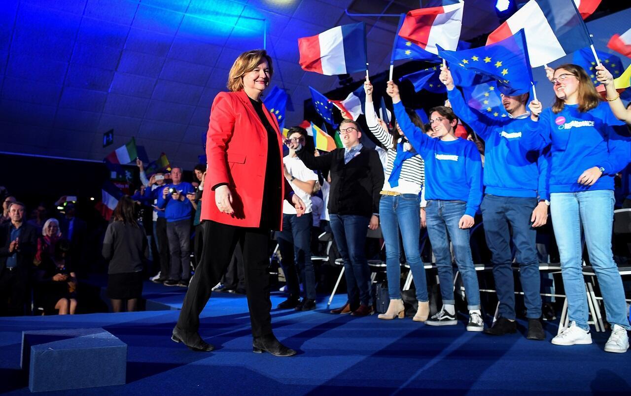 Nathalie Loiseau, tête de liste du parti La République en marche, lors d'un meeting à Caen, le 6 mai 2019.