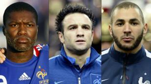 De gauche à droite, Djibril Cissé, Mathieu Valbuena et Karim Benzema.